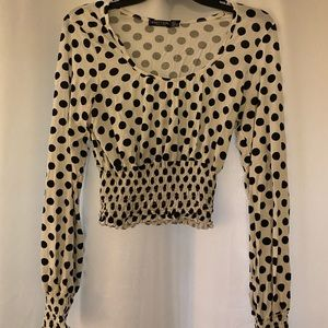 Black and white polka dot long sleeve blouse